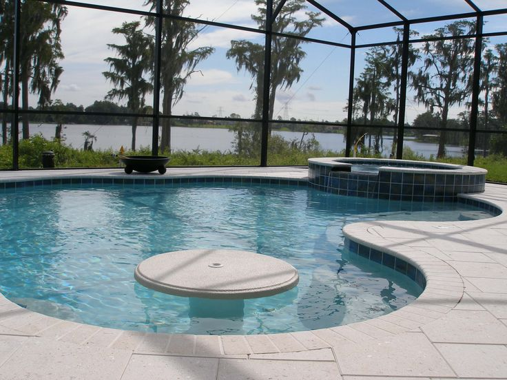 custom features photos Orlando rock waterfalls, grottos - Table top with conversation area