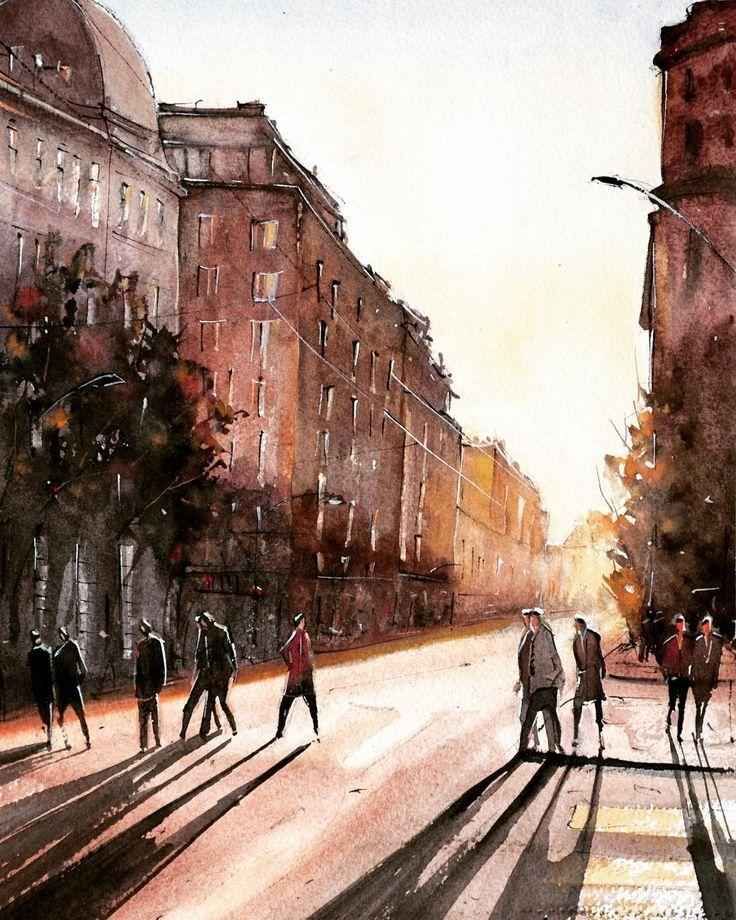 Bucharest Street - Watercolor painting by Maria Cornea 40*30cm