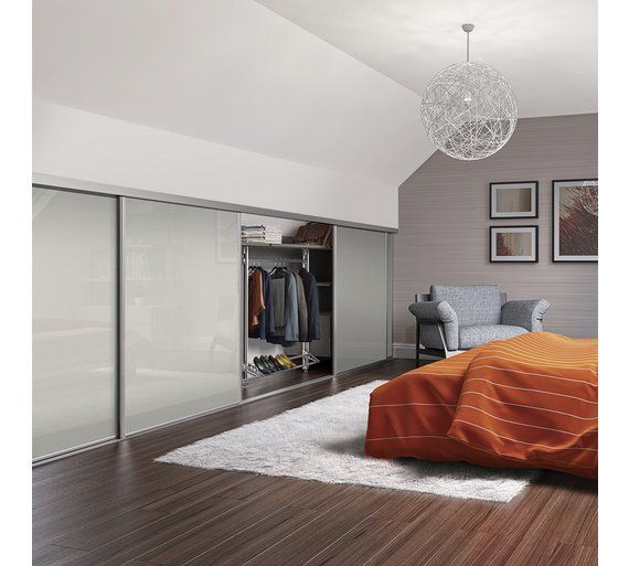 Buy Loft Sliding Wardrobe Door W762mm Soft White Glass at Argos.co.uk -