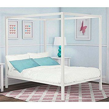 Amazon.com: DHP Modern Metal Canopy Bed, White Metal - Full: Home & Kitchen