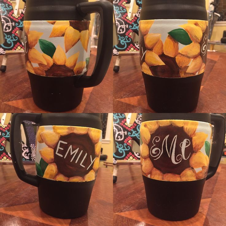 Sunflower bubba keg/mug with monogram