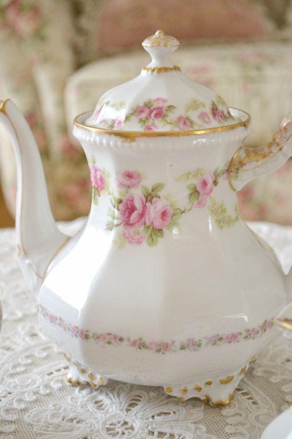 Beautiful Antique Elite Limoges Porcelain Tea Pot from Jennelise Rose on Etsy.