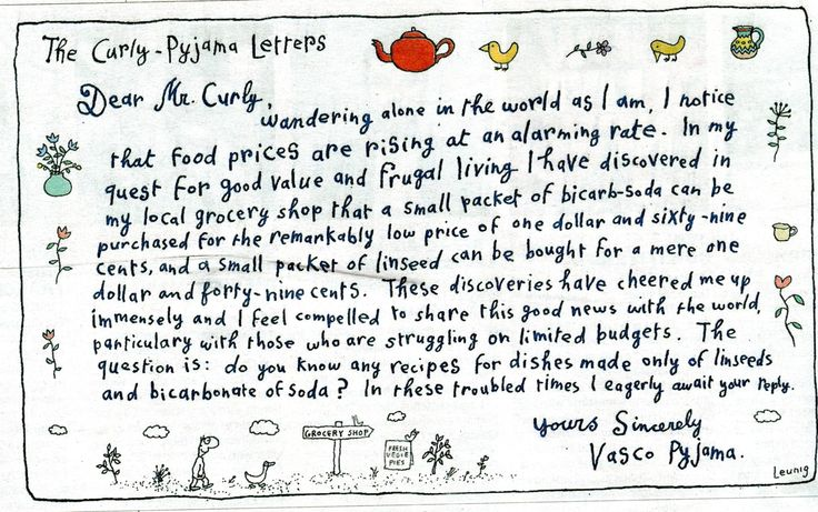 Letters to Mr Curly from Vasco Pyjamas - the Bicarbonate of Soda Story.