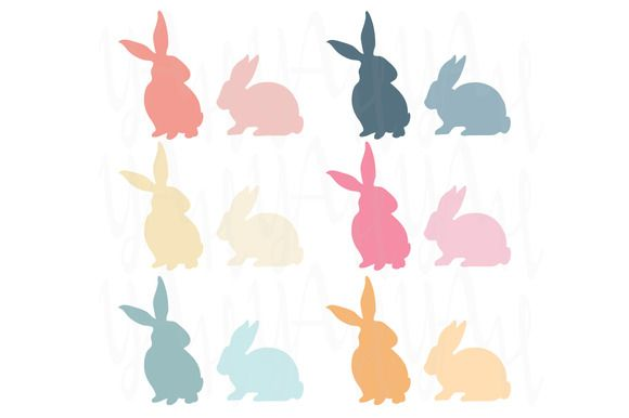 Colorful Easter Bunny Silhouette by YenzArtHaut on @creativemarket