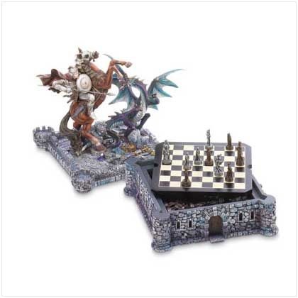 Dragon+Chess+Set Dragons and knights fight a timeless battle over this medieval fortress and the treasures hidden within.
