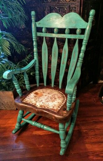 Turquoise chalk paint rocking chair with cowhide seat $225 #RockingChair