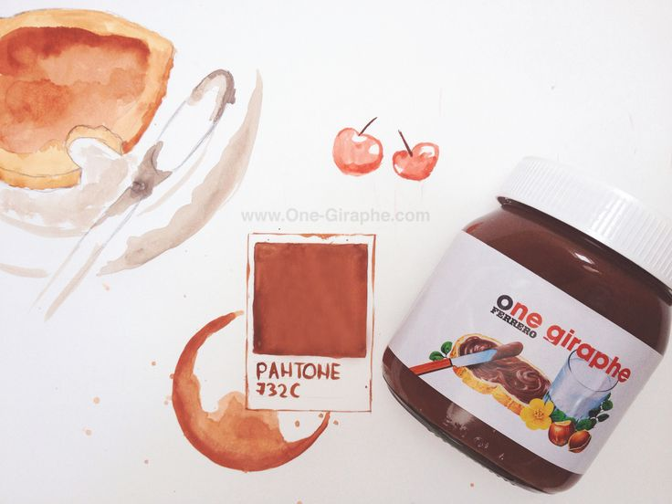 @Nutella & @Pantone = Love ‪#‎watercolor‬ ‪#‎nutella‬ ‪#‎pantone‬ #art #artist #paint #design #designer #behance #inspiration