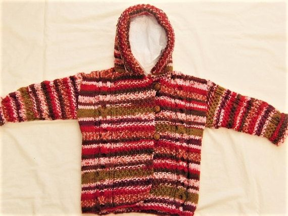 Unisex Childrens Duffle Coat Hand Knitted Using A Red Mixture