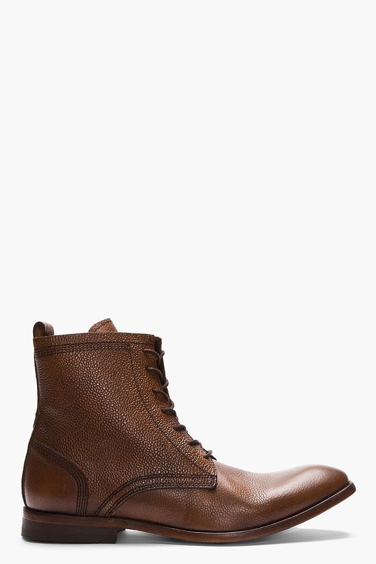 H By Hudson Tan Leather Swathmore Grain Boots for men | SSENSE