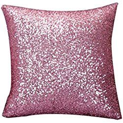 Gotd Throw Pillow Solid Color Glitter Sequins Luxurious Throw Pillow Case Cafe Home Decor Cushion Covers (18'' Pink)