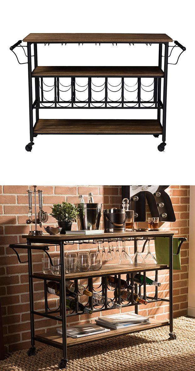 Where's the bar? Wherever you want it to be with this rolling Weston Wine Cart. Framed with antiqued metal supports, this rustic, wood-topped server has a charming industrial appeal. Equipped with gene...  Find the Weston Wine Cart, as seen in the An Industrial Brewery Collection at http://dotandbo.com/collections/an-industrial-brewery?utm_source=pinterest&utm_medium=organic&db_sku=126960