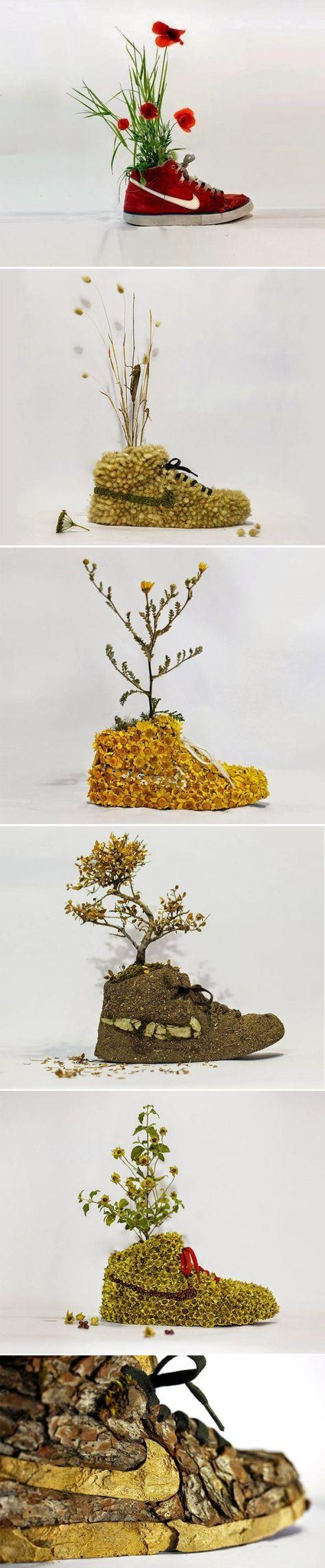 Christophe Guinet or Mr. Plant - Old Nike shoes sculptures