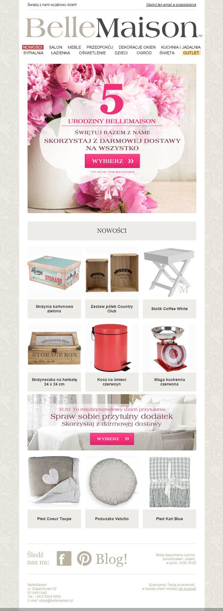 Newsletter przygotowany na 5 urodziny BelleMaison. #newsletter #bellemaison #email #template #ecommerce