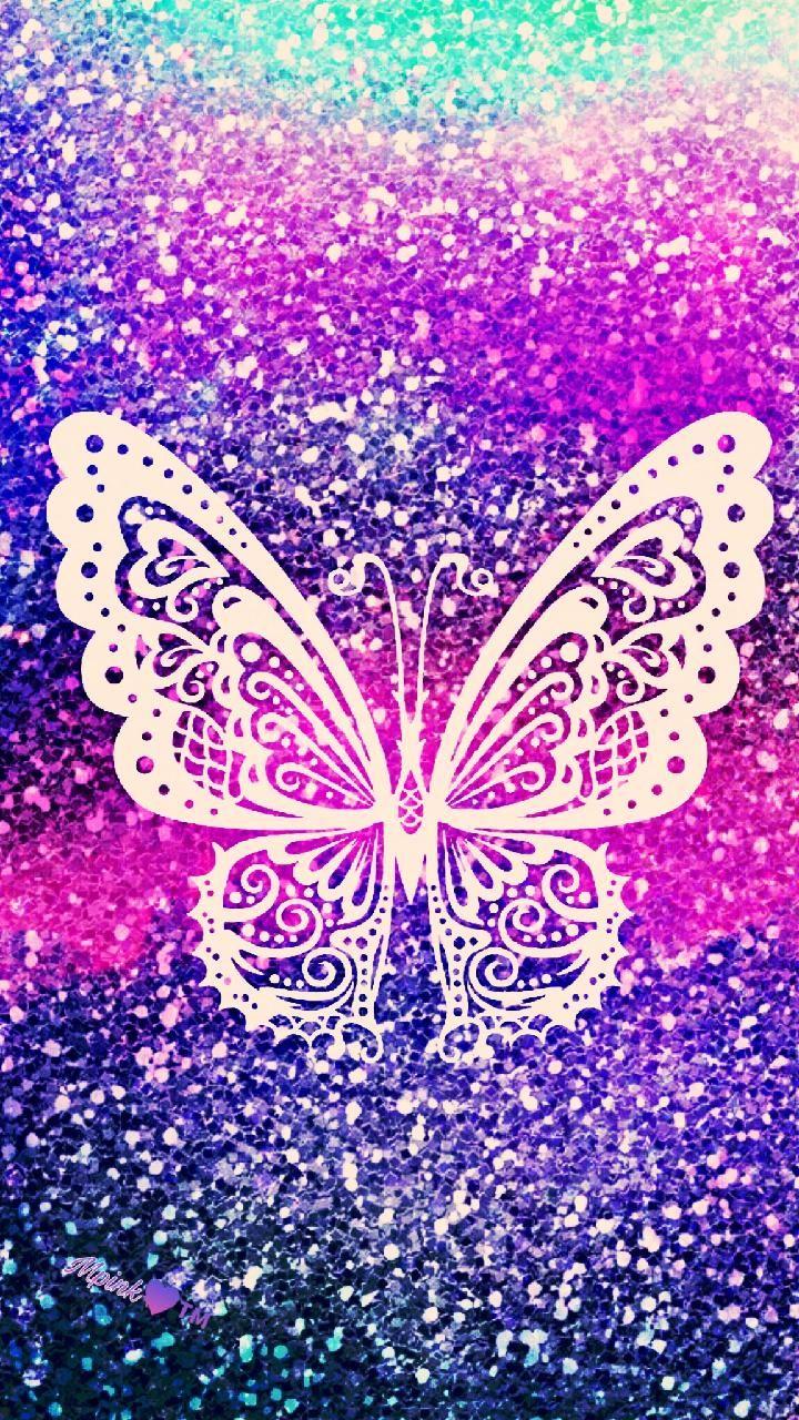 Glitter Girly Butterfly Wallpaper