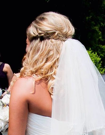 Half up half down hair do Curly hair  Braid  Wedding Prom Homecoming Beautiful Down Blonde Highlight lowlight