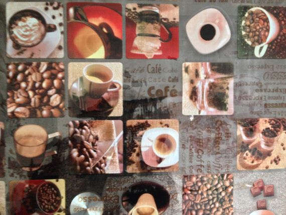Expresso beans Coffee Shop PVC Oilcloth fabric Vinyl Cafe Bar picnic table Wipe clean plastic waterproof Tablecloth fabrics- PER METRE