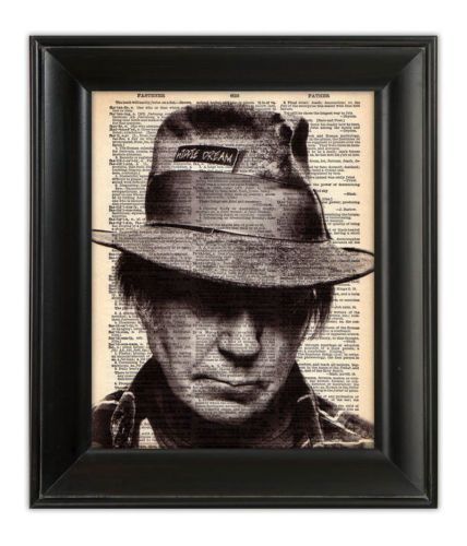NEIL YOUNG FEDORA HAT ROCKER Art Print on Vintage Upcycled Dictionary    Neil Young Hat