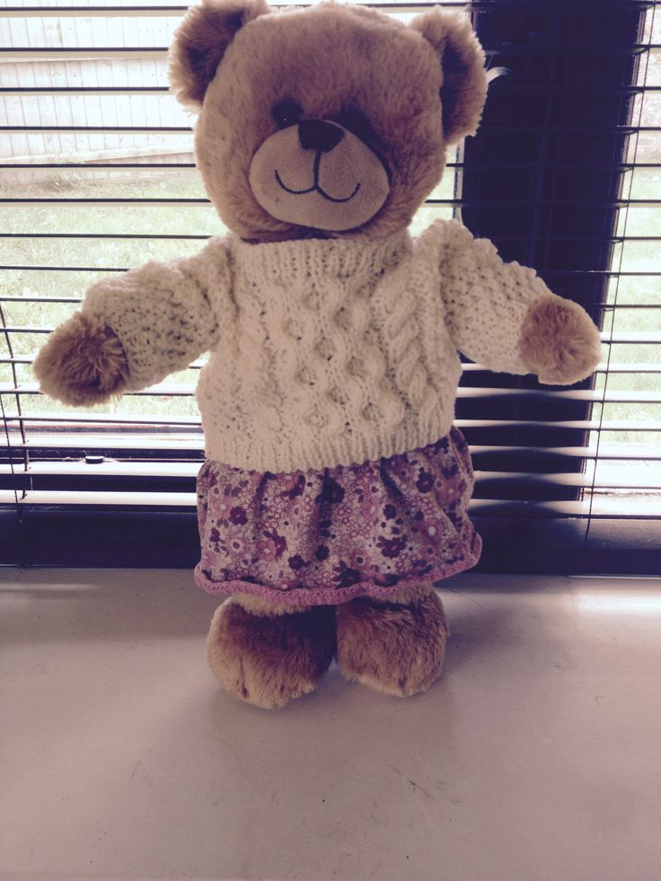 I love knitting, but get bored quickly and have very little patience, so knitting for Cuddles is perfect as I can make these little jumpers in a couple of evenings while slobbing out in front of the TV. Followed the pattern in the link below, just adjusted it a bit to fit. Skirt I made from an old skirt of my daughter's. Just cut it down, hemmed and added elastic