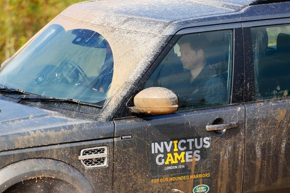 Prince Harry takes part in the Jaguar Land Rover Driving Challenge at Jaguar Land Rover Engineering Centre on September 9, 2014