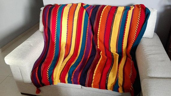 Colorful Blanket Multicolor Sofa Throw Over Colorful Afghan Red Yellow Orange Blanket Colorful Kids Room Blanket Soft Acrylic Afghan Colorful Blanket Orange Blanket Knitted Blankets