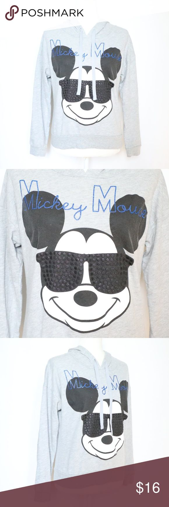 Disney Mickey Mouse Pullover Hooded Sweater S Disney Mickey Mouse Pullover Hoodie Lightweight Sweater Grey  Small Disney Tops Sweatshirts & Hoodies