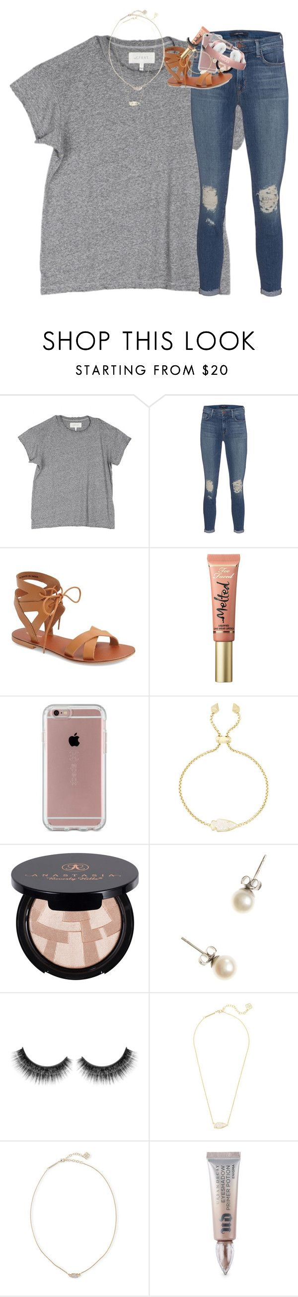 """""""got my nails redone today!!"""" by classynsouthern ❤ liked on Polyvore featuring The Great, J Brand, Topshop, Too Faced Cosmetics, Speck, Kendra Scott, Anastasia Beverly Hills, J.Crew and Urban Decay"""