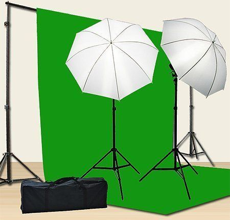 Chromakey Green Screen Kit 800w Photo Video Lighting Kit 10x12 feet Green Screen and Backdrop Support System Included Ul15 10x12 Green By Fancier U15 10x12 Green | SkoolDealz