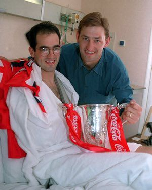 Steve Morrow gets a visit from Tony Adams at the Clementine Churchill Hospital.