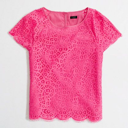 scalloped lace tee / j.crew factory- this would look perfect paired with white jeans and wedges