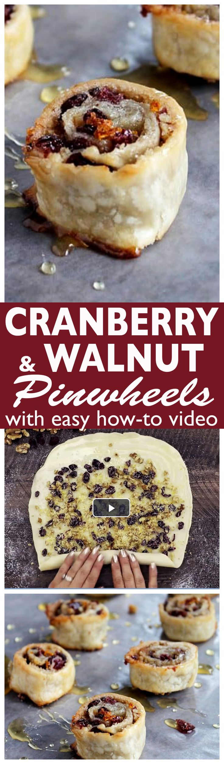 Cranberry and Walnut Pinwheels - Pie dough wrapped around a rich cranberry & walnut filling!
