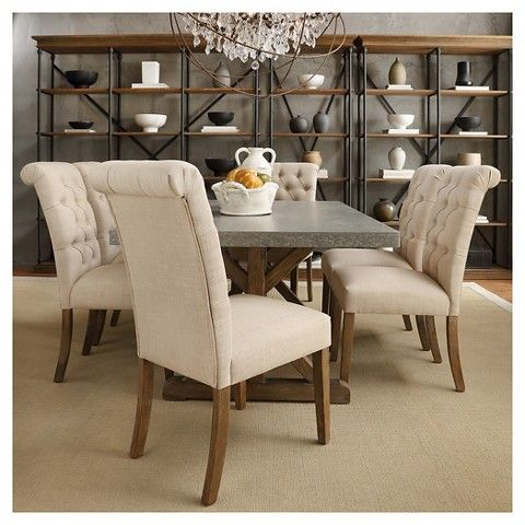Gramercy button tufted dining chair wood oatmeal set of 2 for Inspire q dining room chairs
