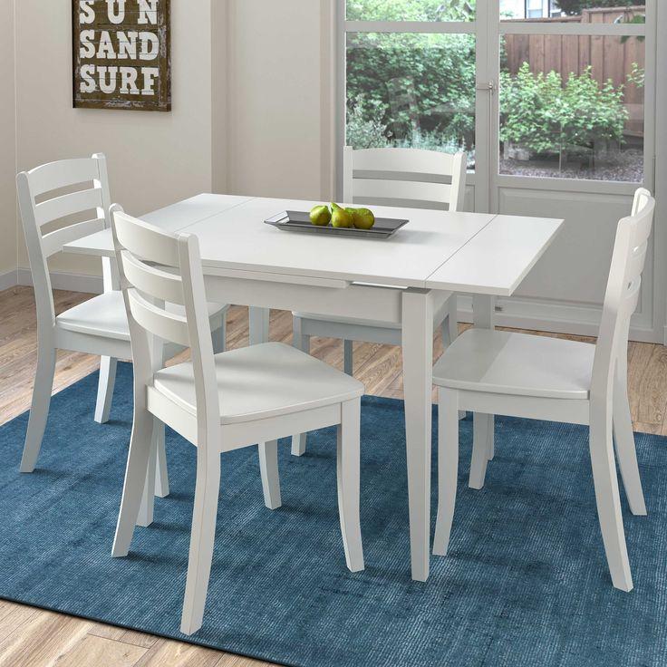 CorLiving Dillon 5-piece Extendable White Wooden Dining Set (White), Size 5-Piece Sets