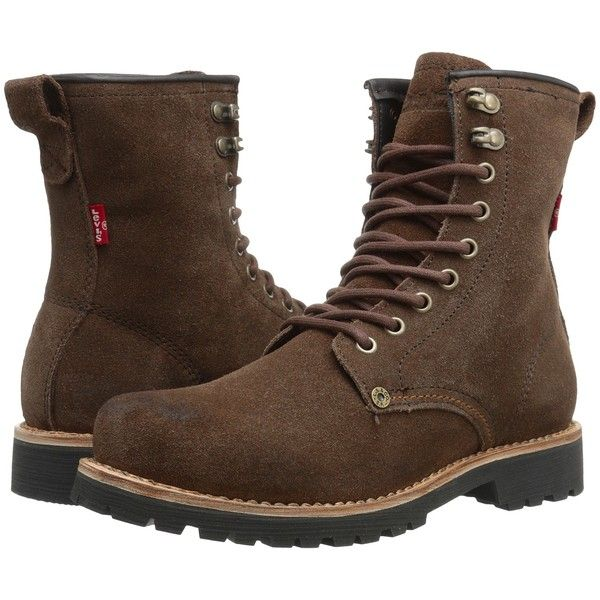 Levi's   Shoes Baxter Suede (Brown) Men's Lace-up Boots ($64) ❤ liked on Polyvore featuring men's fashion, men's shoes, men's boots, brown, mens tall lace up boots, mens hi top shoes, mens tall boots, mens shoes and mens suede lace up shoes