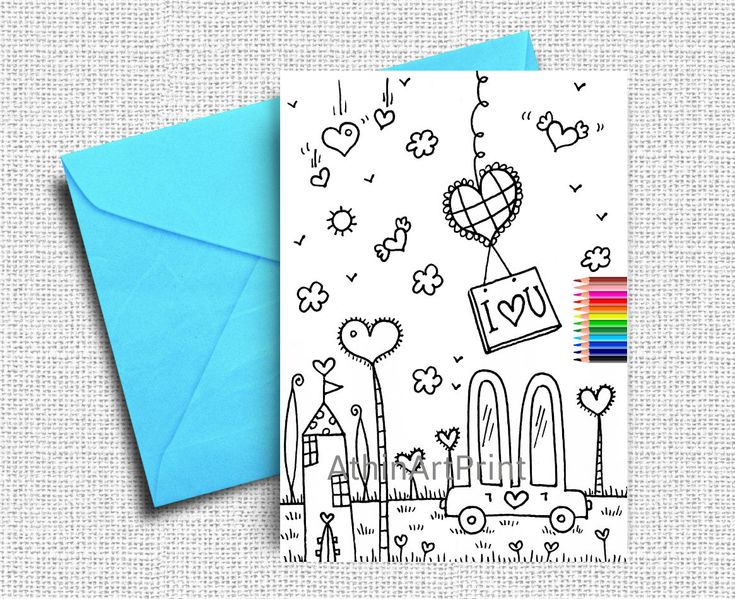 Father's Day Card, Father's Day Gift, Coloring Cards, Kids Coloring Card, Greeting Cards, I Love u Dad, Printable Cards, INSTANT DOWNLOAD by AthinArtPrint on Etsy