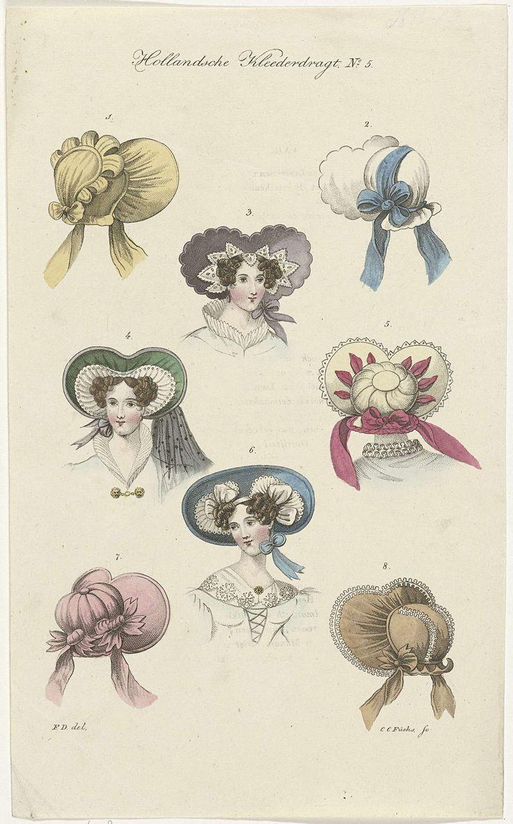 Acht verschillende dameshoeden, Carl Cristiaan Fuchs, ca. 1802 - ca. 1855