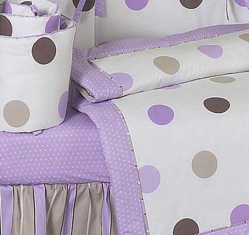purple, brown, white nursery | Details about PURPLE & BROWN POLKA DOT BABY GIRLS CRIB BEDDING 9p SET