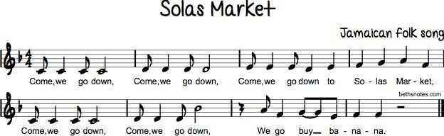 Lyrics Come, we go down, Come, we go down, Come, we go down to Solas Market, Come, we go down, Come, we go down, We go buy banana. Links more Jamaican folk songs more songs with syncopation more songs from the Caribbean Islands more songs with countermelodies more songs about food more songs with...