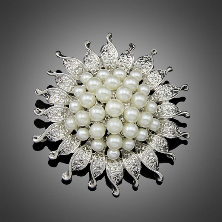 Cheapest High Quality Silver Color Flower Five Cream Full White Simulated Pearl Brooch Bouquet for Wedding
