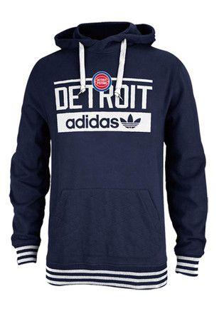 Adidas Detroit Pistons Mens Blue Pullover Hoodie
