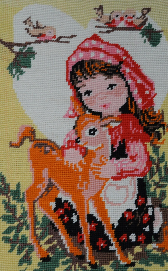 Cute Vintage Royal France Needlepoint Tapestry by ArtyCraftyAli, £17.00