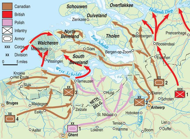 English, Canadian, and Polish forces mounted a complex, three-pronged assault on German occupiers of the Dutch lowlands to clear the Belgian port of Antwerp in 1944.