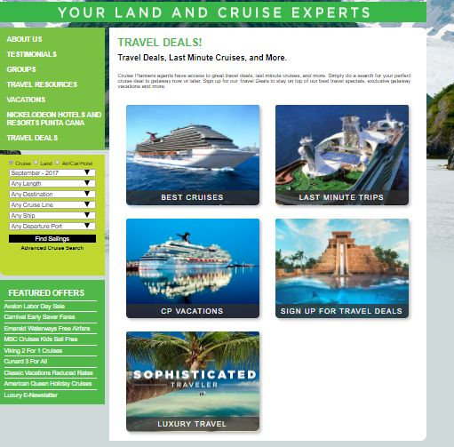 Travel Deals, Last Minute Cruises, and More.   Cruise Planners agents have access to great travel deals, last minute cruises, and more. Simply do a search for your perfect cruise deal to getaway now or later. Sign up for our Travel Deals to stay on top of our best travel specials, exclusive getaway vacations and more.