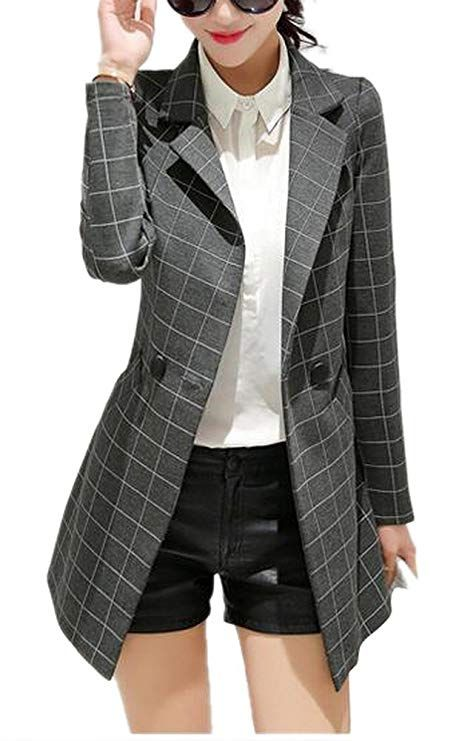 df382a4b8768 Enlishop Women s Vintage Check Plaid Long Sleeve Casual Long Jacket Blazer  Grey