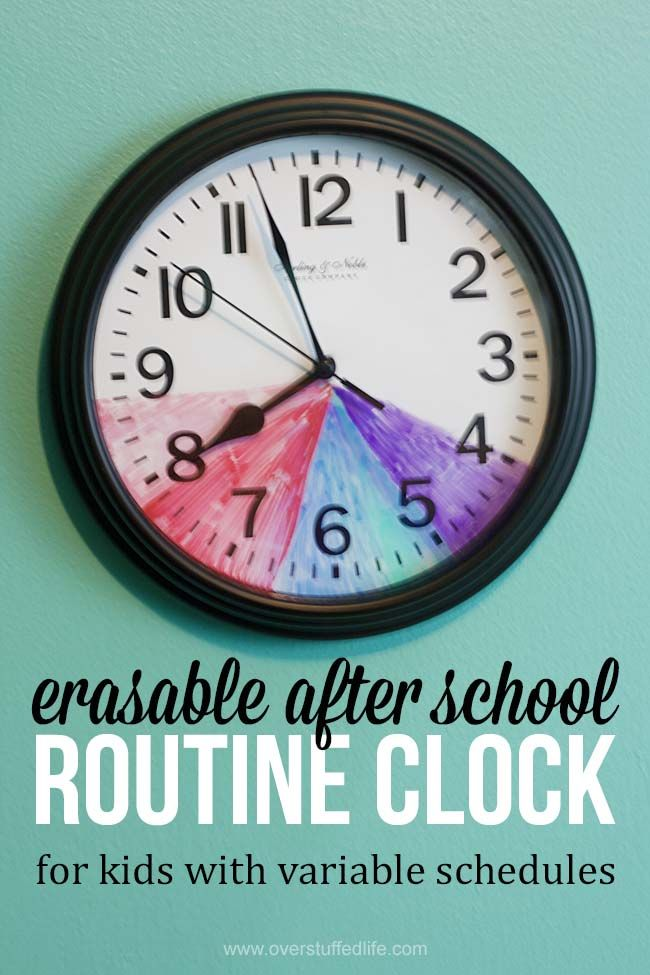 Erasable after school routine clock | for kids with variable schedules | ideas for keeping kids on schedule | color coded printable schedule for kids | after school schedule: homework, chores, dinner, free time, extracurricular activities