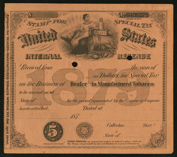 Internal Revenue $5 Special Tax Stamp - Dealer in Manufactured Tobacco 1879. These tax stamps were printed by the BEP. This is a remainder grading Choice About Uncirculated, 2 POC.