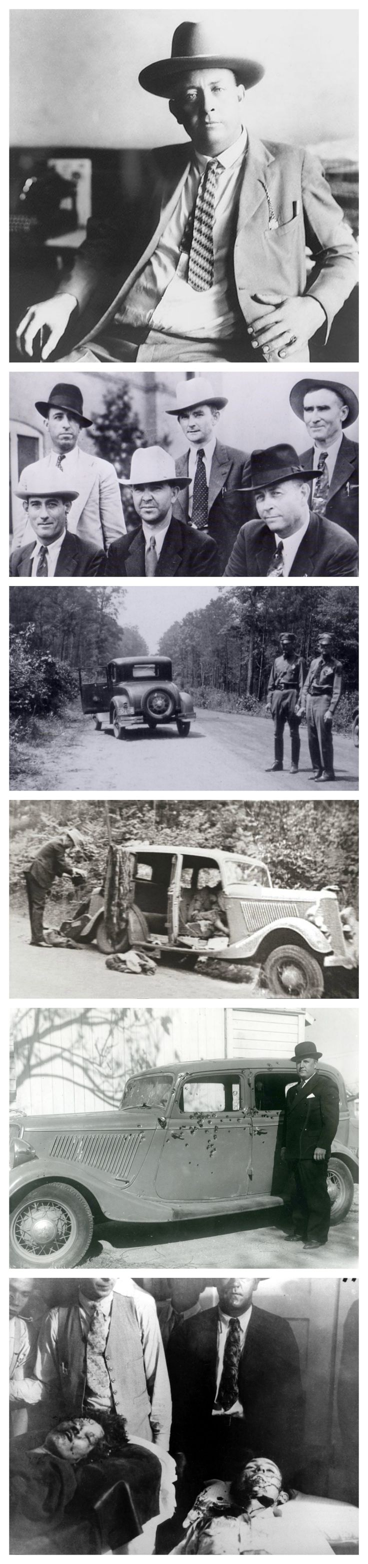 Bonnie & Clyde - The End:  In Feb 1934 former Texas Ranger Captain Frank A. Hamer was persuaded to hunt down the Barrow Gang.  He persued them for 3 months as they continued killing.  Barrow and Parker were ambushed and killed on May 23, 1934, on a rural road in Bienville Parish, Louisiana.