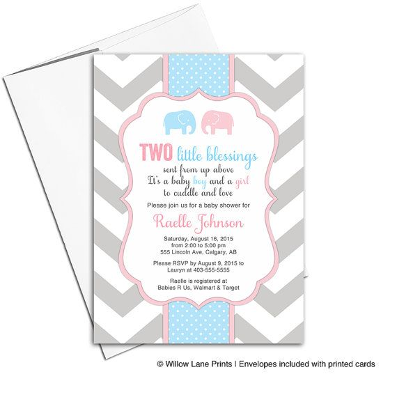 Printable twin boy and girl baby shower by WillowLaneEvents