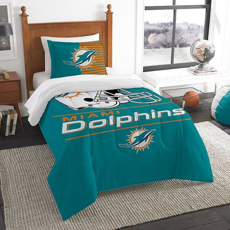 Miami Dolphins Draft Twin Comforter Set by Northwest, Multicolor