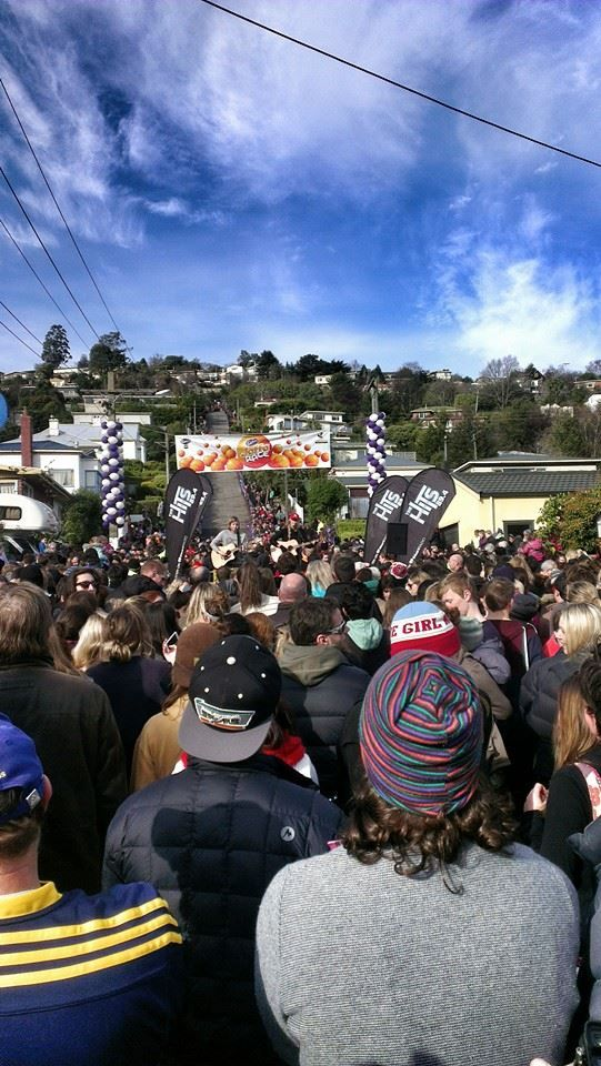 Baldwin Street, Dunedin - the world's steepest street. Visit during Cadbury's Chocolate Festival in July and see 25,000 giant Jaffa lollies/sweets racing down the street. #chocolate fun.