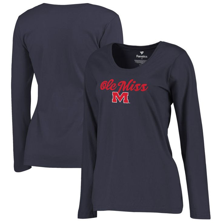 Ole Miss Rebels Fanatics Branded Women's Plus Sizes Freehand Long Sleeve T-Shirt - Navy